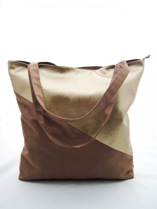 """XL-Shopper-Schultertasche aus Kunstleder und Canvas """"Gold"""""""