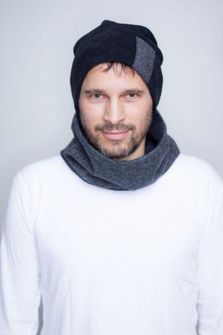 Set: für Männer aus kurzem Loop-Schal und Beaniemütze mit Tweed