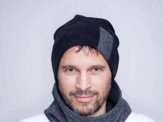 warme Oversized Beaniemütze mit Tweed-Detail